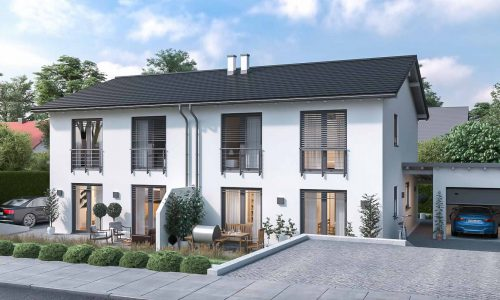 Exterior Architectural Rendering – Duplex Family House in Osterhofen